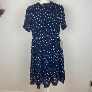 NWT 1901 Polka Dot Chiffon Fit & Flare Dress
